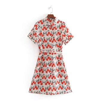 女性のストラップレスチュニック ピーチプリントシャツワンピース ハーフポルカベルト (Color : Red, Size : S)