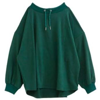 (ハッピーマリリン) 大きいサイズ レディース ミニ裏毛 パーカー風 長袖 プルオーバー 【431846】LL-4L(タグ2)/フォレストグリーン