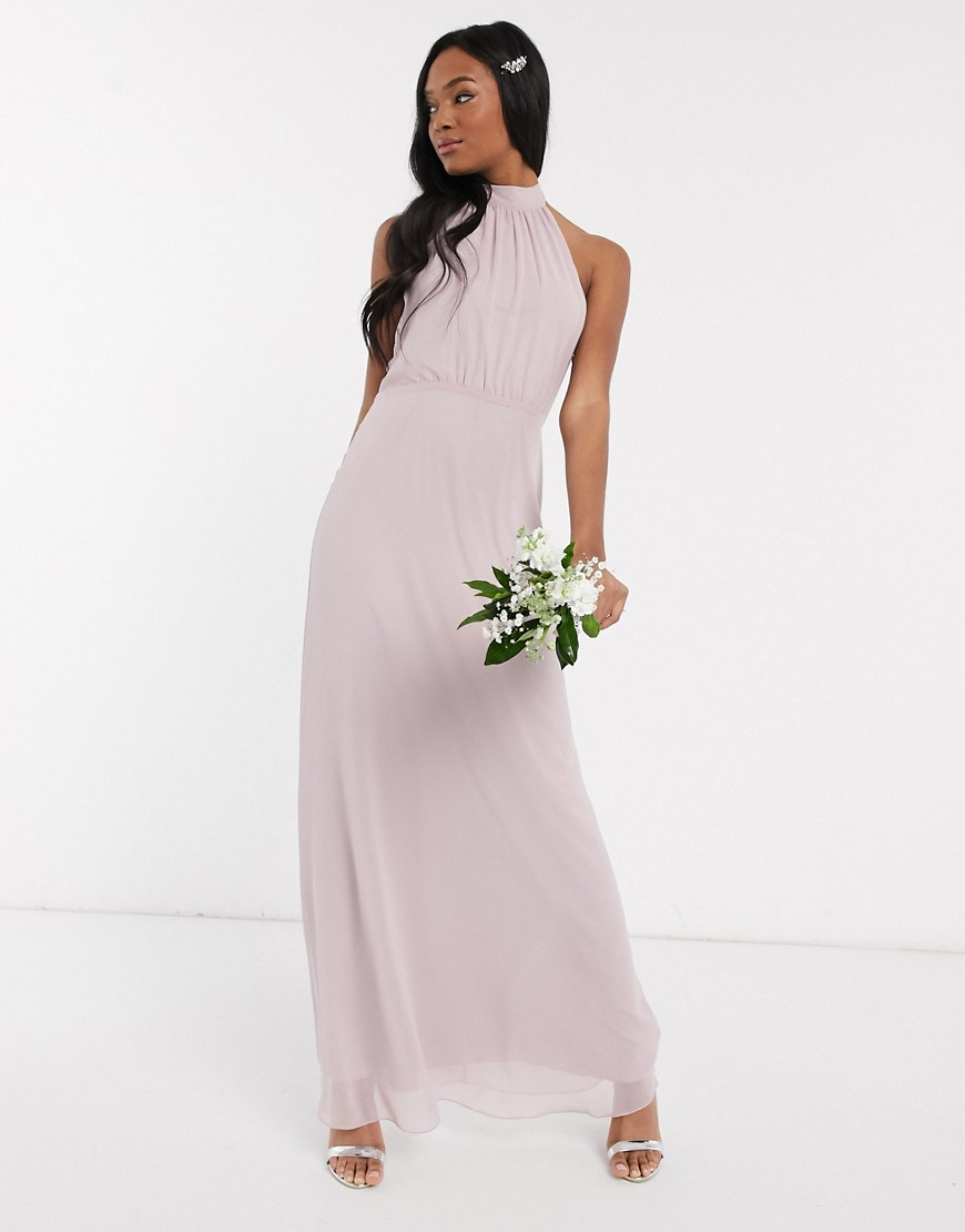 Maids to Measure bridesmaid high neck maxi dress in chiffon-Grey
