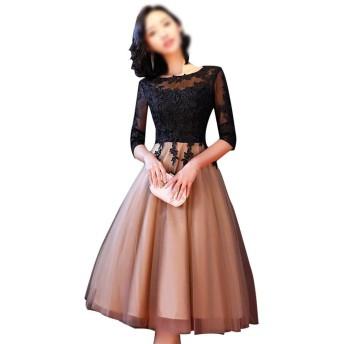 女性春レディース黒レース刺繍メッシュハーフスリーブイブニングドレス (Color : Black-A, Size : S)