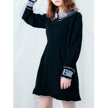 ロジータ ROJITA ビジュブローチ配色レース衿OP (ブラック)