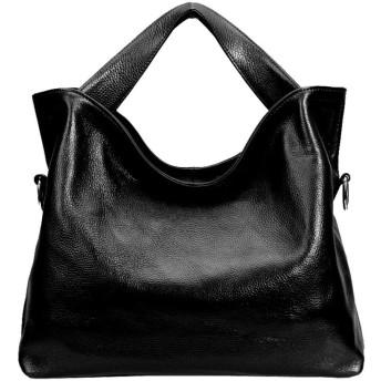 レディースハンドバッグ レディースレディースレザーショルダートップハンドルハンドバッグトートバッグ付き取り外し可能ストラップ付きデートショッピング日常生活 通勤 鞄女性用 (Color : Black, Size : Free Size)