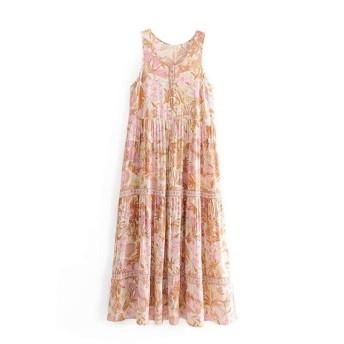 女性のストラップレスチュニック プリントベストドレス ハーフポルカベルト (Color : Pink, Size : M)