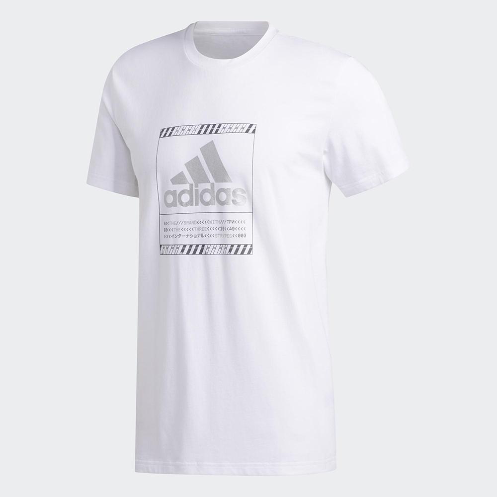 【領券最高折$300】【現貨】Adidas BOS METALLIC 男裝 短袖 休閒 短T 純棉 金屬LOGO 白【運動世界】GF1626