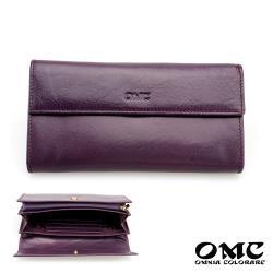 【OMC】8卡歐風Fronts原皮仕女L型拉鍊長夾(紫色)