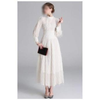 小さなスタンド襟ランタンスリーブハイウエスト気質ロングドレスフリンジファーのスカート (Color : White, Size : L)