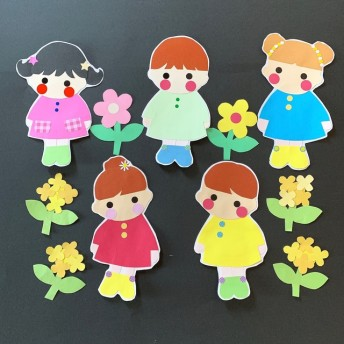 ︎送料無料 ︎壁面装飾 お友達 男の子 女の子 花