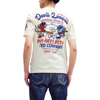 (テッドマン) TEDMAN Tシャツ TDSS-510 ベースボール 野球柄 エフ商会 メンズ 半袖tee (オフ白, 46-メンズXXLサイズ)
