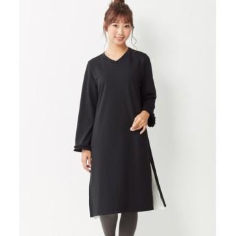 9分袖サイドプリーツカットソーワンピース(ヴェールダンス) (大きいサイズレディース)ワンピース, plus size dress