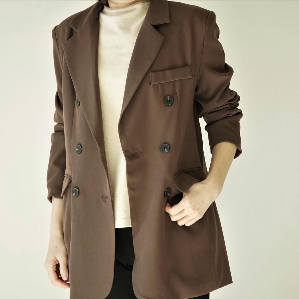 【MiROO】韓版雙排扣西裝外套
