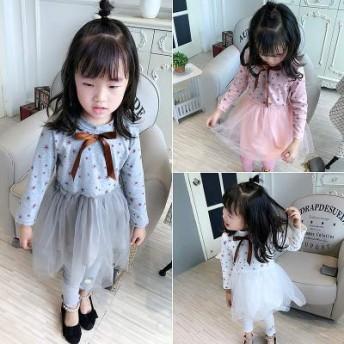 韓国風 ドット リボン チュチュ ファッション フェイク2点セット ワンピース 少女
