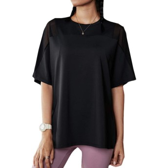 Inlefen 女性の半袖スリムメッシュ通気性Tシャツヨガジムスポーツトップ
