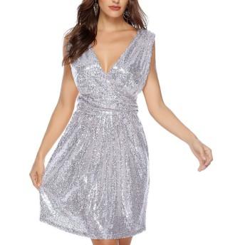 レディースイブニングドレス 女性レディースVノースリーブキラキラスパンコールストレッチミニドレスディープナイトウェアクラブウェアドレスカクテルイブニングパーティードレス パーティードレス ブライズメイド ドレス (Color : Rose Gold, Size : XXL)