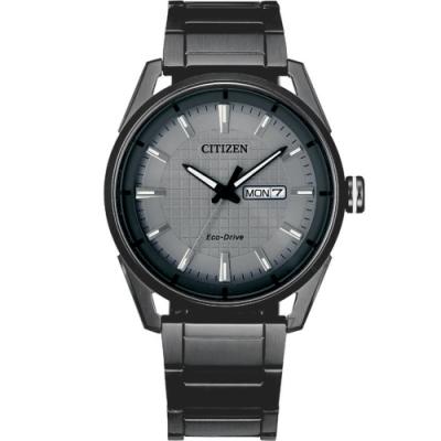 CITIZEN星辰經典格紋紳士手錶(AW0087-58H)-深灰色/42mm