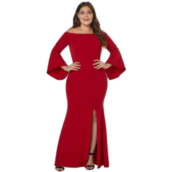 レディースイブニングドレス 女性のオフショルダーハイウエストスカート分割長袖XLドレス パーティードレス ブライズメイド ドレス (Color : Black, Size : XXXXL)
