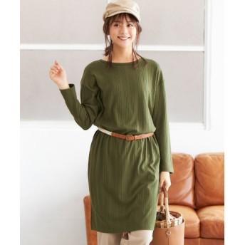 サイドスリットゆるシルエットリブカットソーチュニック (大きいサイズレディース)plus size tops, 上衣