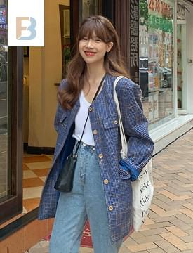 韓國空運 - Over vintage tweed jacket 夾克