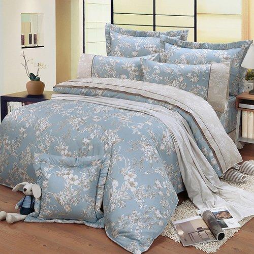 【FITNESS】精梳棉特大七件式床罩組-莉蒂亞(藍)
