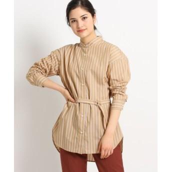Dessin/デッサン 【S~Lサイズあり、洗える】ストライプブロードロングバンドカラーシャツ キャメル(341) 03(L)