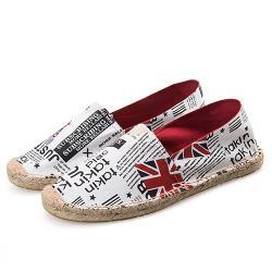 【Alice】塗鴨十字風格歐美外銷草編休閒帆布鞋