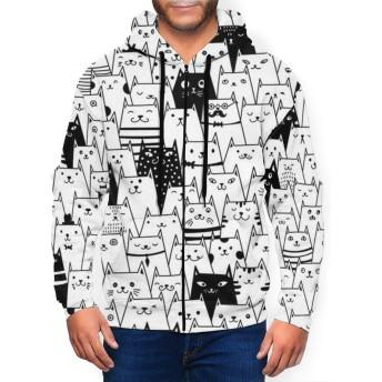 猫いっぱい メンズ パーカー フルジップ カジュアル 連帽と上衣 ファッション全幅のプリント 長袖秋冬ジャケット 通勤通学