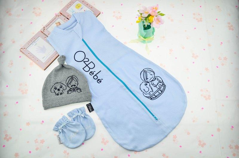 相親相愛 - 嬰兒 新生兒包巾 睡袋 防踢被 - 彌月禮盒 - 水藍