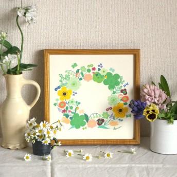 「春のリース(グリーン)」20cm角ポスター