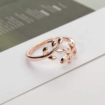 指輪 HYF 2 PCSチャーム女性のためのTolive木の枝の葉アジャスタブルオープンリング(シルバー) (色 : Rose Gold)
