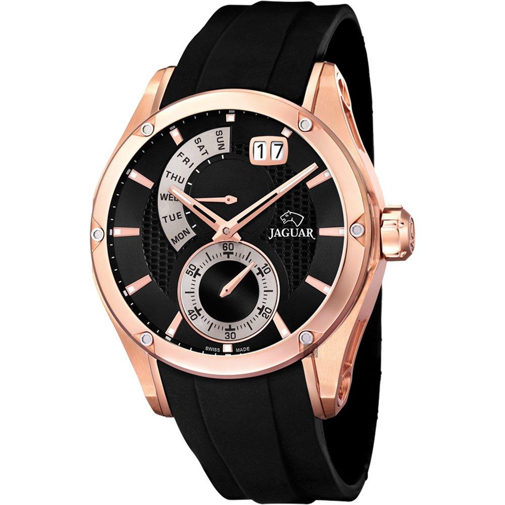 JAGUAR Special Edition 星期小秒針手錶-玫瑰金框x黑/44mm  J679/1