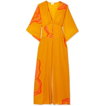 《セール開催中》JALINE レディース 7分丈ワンピース・ドレス オレンジ S シルク 100%