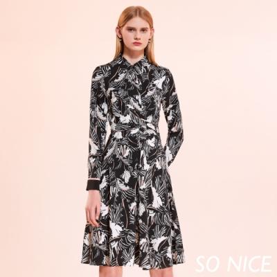 SO NICE時尚撞色印花襯衫式洋裝