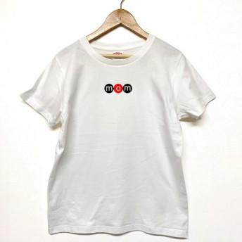 Tシャツ 『 mom 』 ネーム in サークル (横) 半袖 前面 レディース