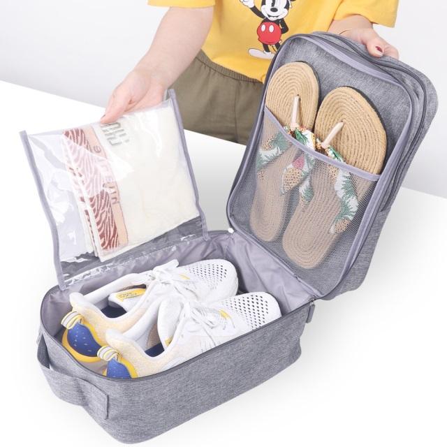 《WEEKEIGHT》豪華耐磨防潑水乾濕分離手提3雙鞋收納鞋袋/收納袋