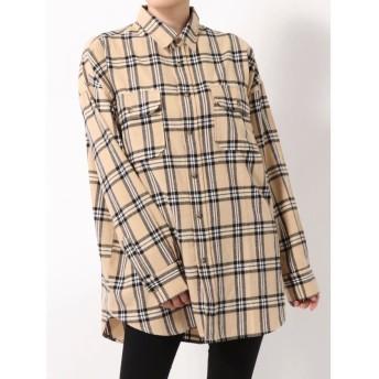 【50%OFF】 コトリカ オーバーサイズチェックシャツ レディース キャメル M 【COTORICA.】 【セール開催中】