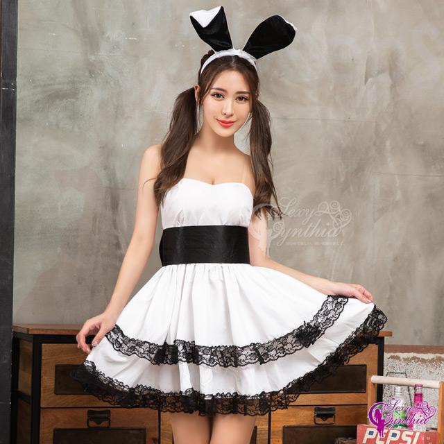 【Sexy Cynthia】角色扮演 黑白俏麗兔女郎角色扮演服四件組