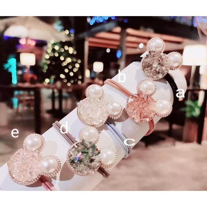 韓 碎水晶珍珠米奇雙圈髮繩髮圈髮束-5色