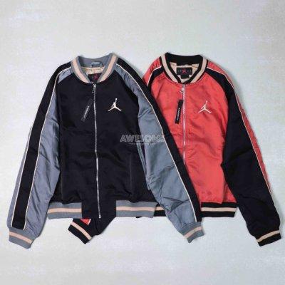 [歐鉉]NIKE AIR JORDAN 刺繡LOGO 緞面 棒球外套 男生 CD5772-010 CD5772-605