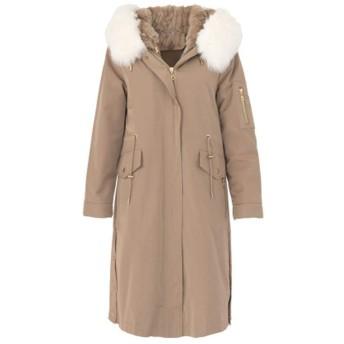 カーキファーカラーフード付きロングダウンジャケット、冬の婦人服、詰め物:白いアヒルダウン-M