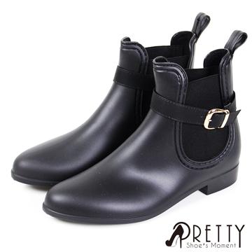 Pretty 繞踝扣飾尖頭雀爾西防水短筒雨靴 B-26629