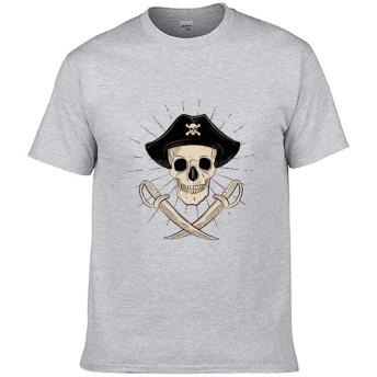 パーソナライズ レトロな古い頭蓋骨の海賊 された大人用半袖Tシャツ綿TシャツプリントTシャツ(ユニセックス)