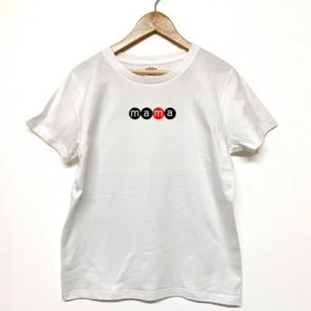 Tシャツ 『 mama 』 ネーム in サークル (横) 半袖 前面 レディース