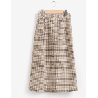 NIMES/ニーム チェックセミタイトスカート キナリ×ベージュ 0