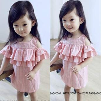 女児 スウィート フリル セクシー 肩なし ワンピース 児童 タンクドレス 夏服 新しい