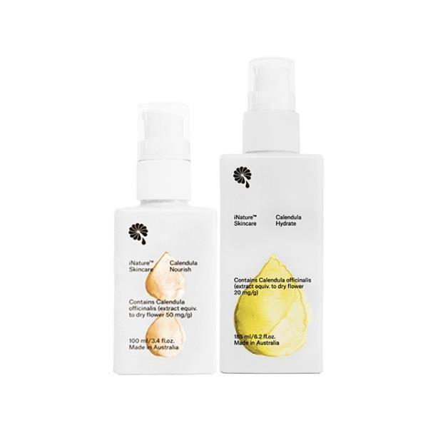 iNature植維方金盞花保濕潤膚乳液(185ml/瓶)+營養霜(100ml/瓶)