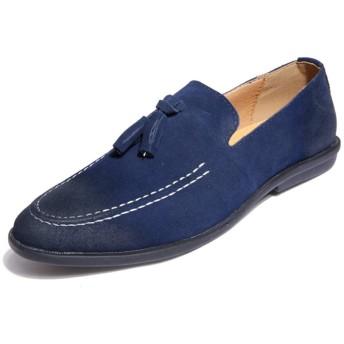 クラシックで快適なドライビングシューズ ビジネスドレス結婚式ローファー軽量で通気タッセルアンチスリップフラットスリップオンラウンドトウのためにファッションメンズカジュアルスエードシューズ ボートシューズ (Color : Blue, Size : 38 EU)