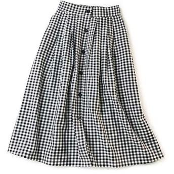 レディース スカート フレアスカート ウエストゴム Aライン 膝丈 ボタン付き チェック柄 気質 スリム ブラック