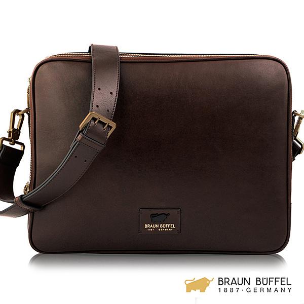 【BRAUN BUFFEL】RAZNOR 雷諾系列橫式斜背包 - 咖啡 BF343-61-BR
