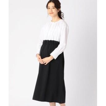 COMME CA BLANC D'OEUF/コムサブロンドオフ 〔マタニティ〕ブラウス+スカートドッキングドレス ホワイト×ブラック M〜L