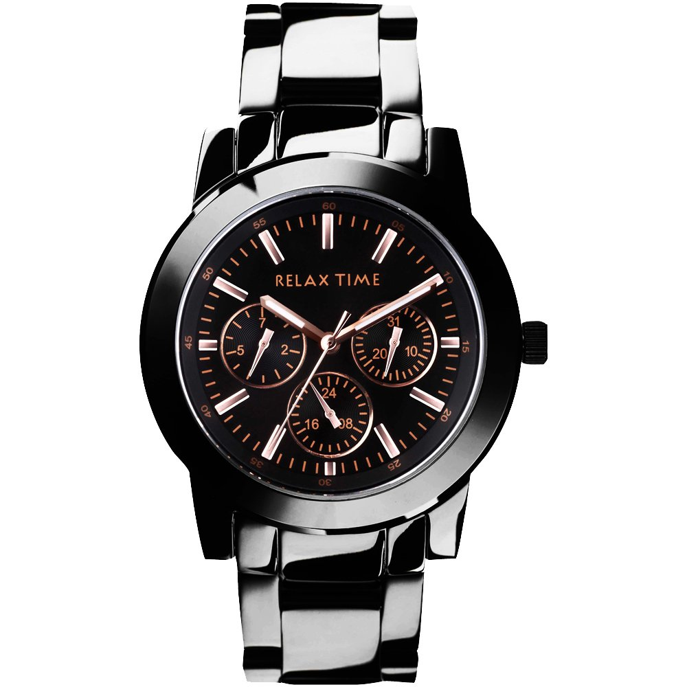 RELAX TIME 時尚達人日曆顯示腕錶-IP黑x玫塊金時標/38mm  R0800-16-10