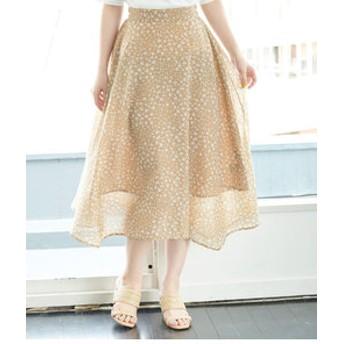 【ROPE' PICNIC:スカート】ランダムヘム花柄ロングスカート